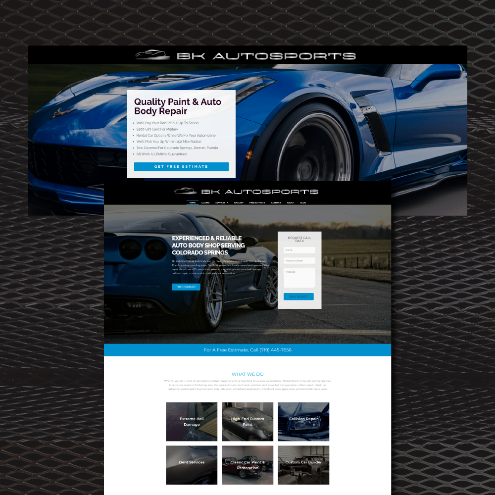 website and landing page mockup for B K Autosports