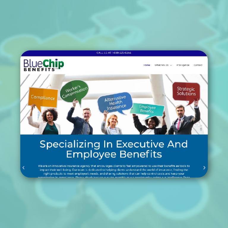 mockup of bluechip benefits group website
