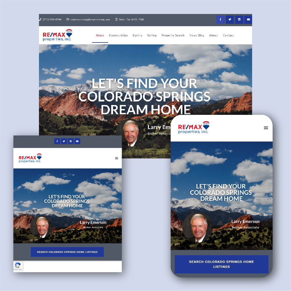 mockup of responsive web design for Larry Emerson of REMAX