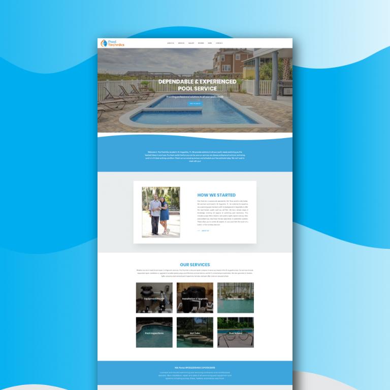 mockup of pool company website